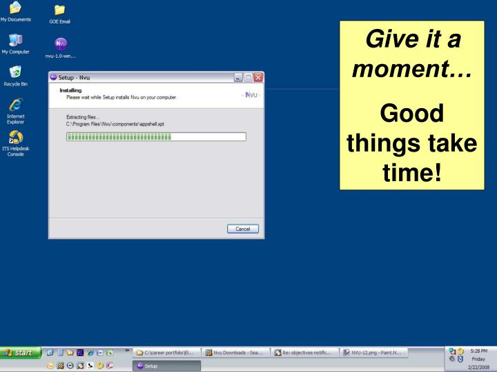 Give it a moment…