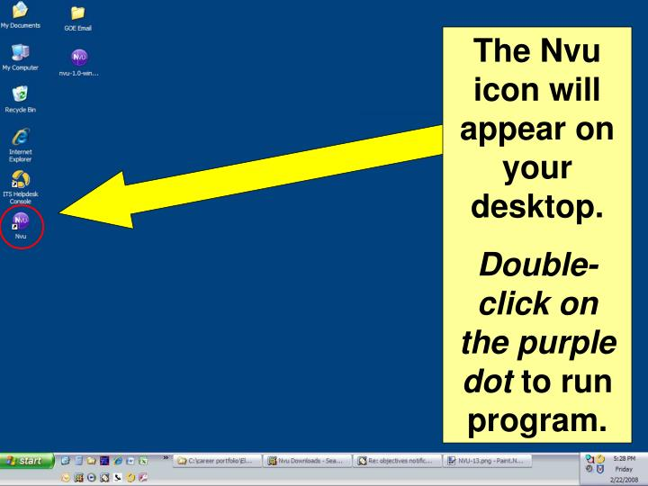 The Nvu icon will appear on your desktop.