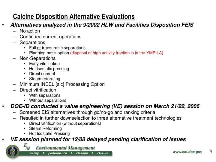 Calcine Disposition Alternative Evaluations
