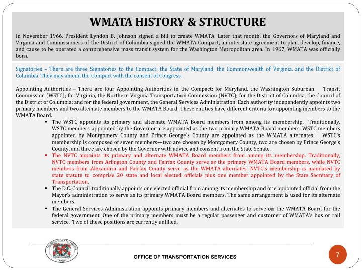 WMATA HISTORY & STRUCTURE