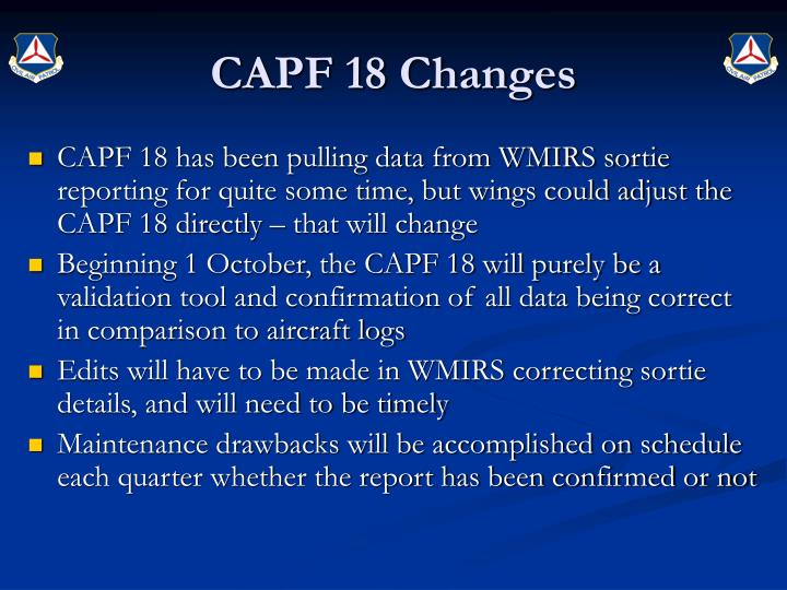 CAPF 18 Changes