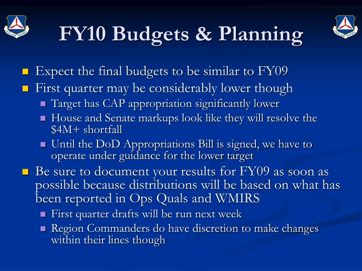 Fy10 budgets planning