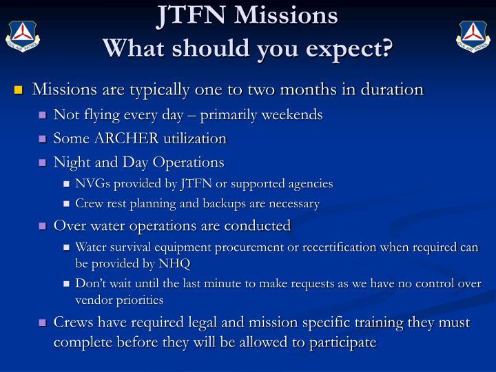 JTFN Missions