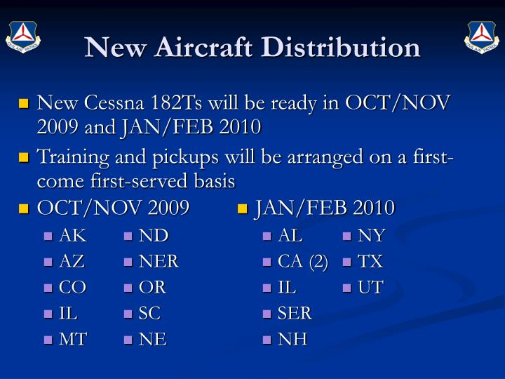 New Aircraft Distribution