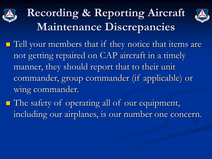 Recording & Reporting Aircraft Maintenance Discrepancies
