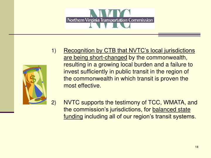 Recognition by CTB that NVTC's local jurisdictions are being short-changed