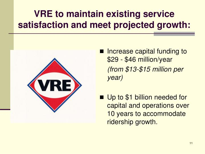 VRE to maintain existing service satisfaction and meet projected growth: