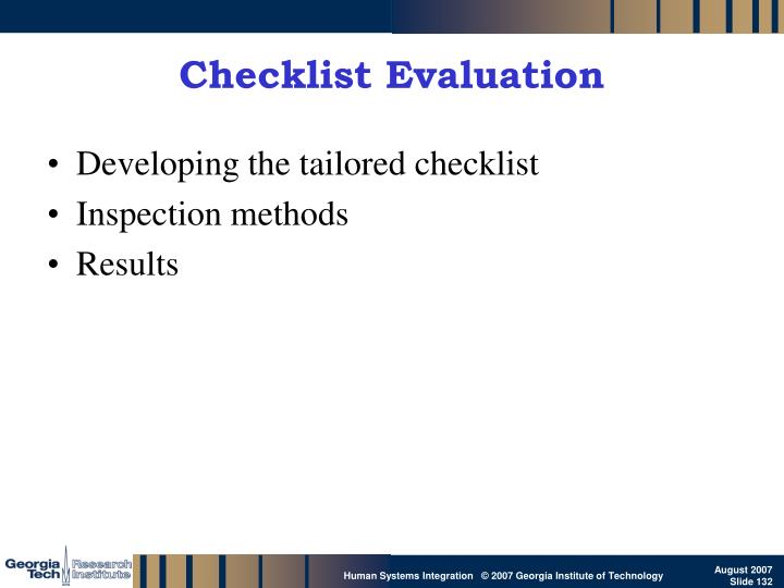 Checklist Evaluation