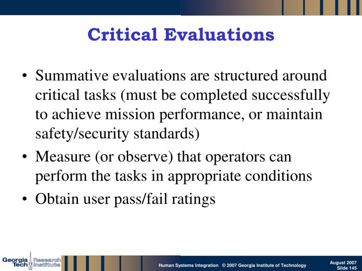Critical Evaluations