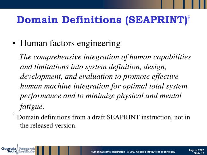 Domain Definitions (SEAPRINT)
