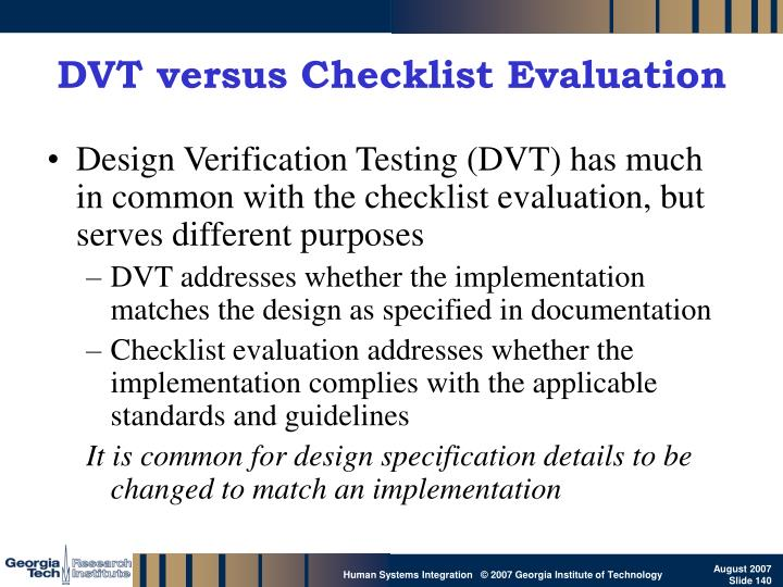 DVT versus Checklist Evaluation