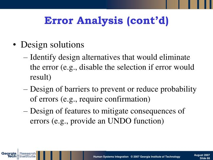 Error Analysis (cont'd)