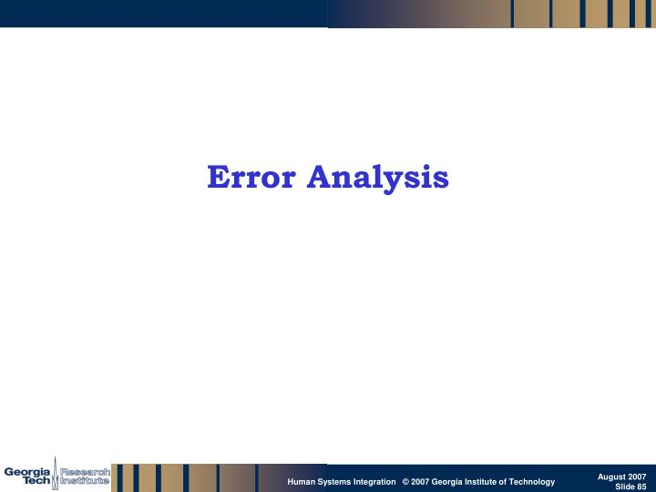 Error Analysis