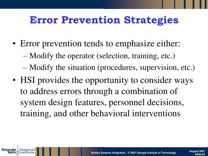 Error Prevention Strategies