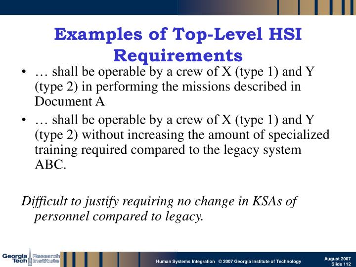 Examples of Top-Level HSI Requirements