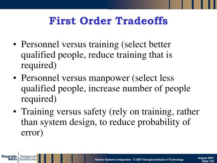 First Order Tradeoffs