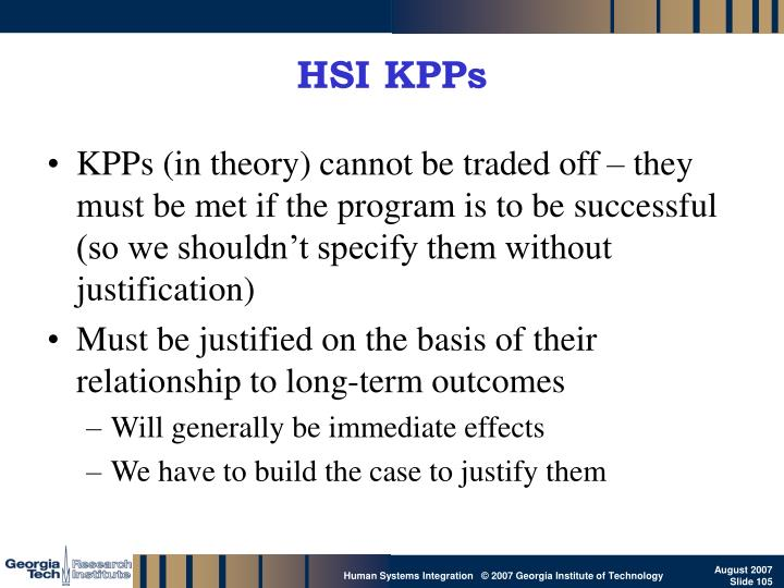 HSI KPPs