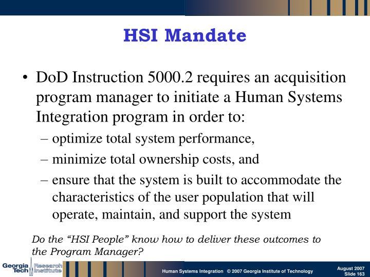 HSI Mandate