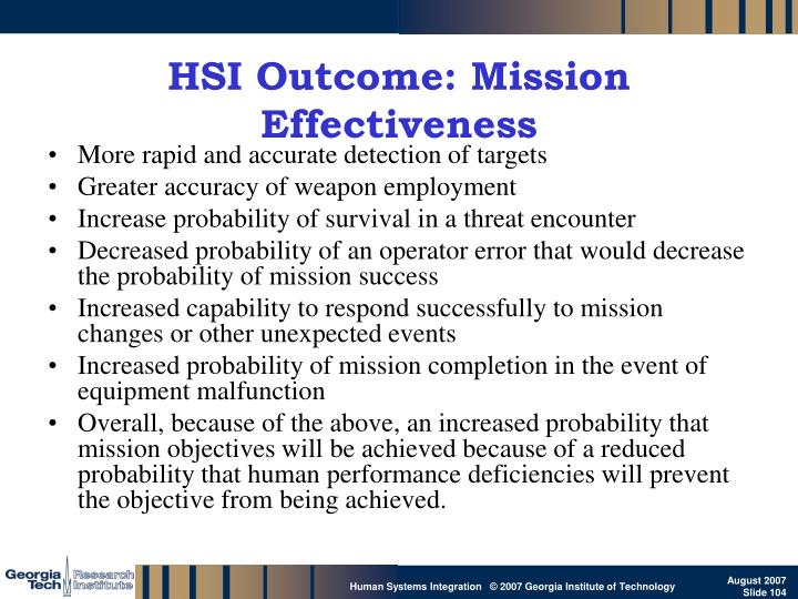 HSI Outcome: Mission Effectiveness