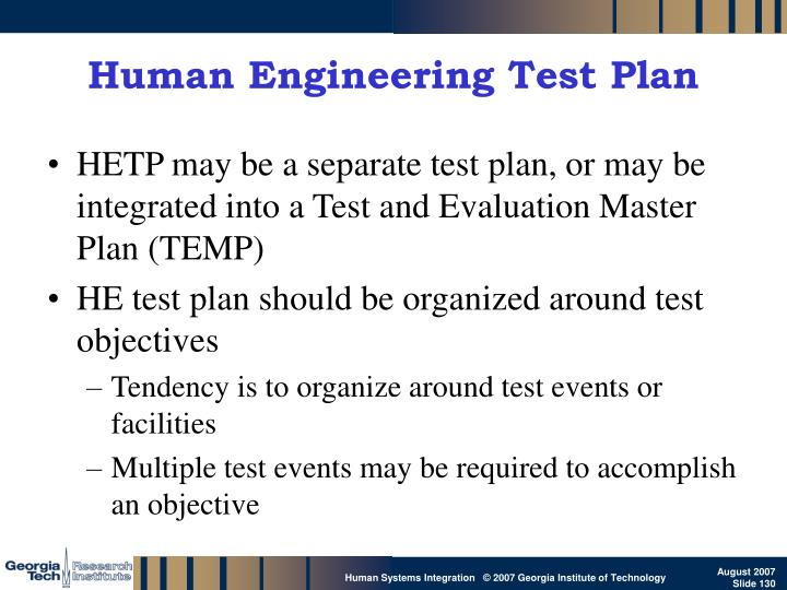 Human Engineering Test Plan