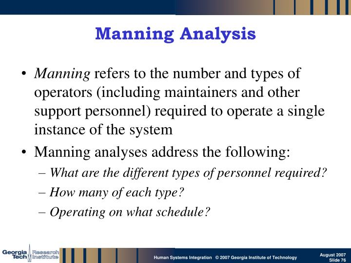 Manning Analysis