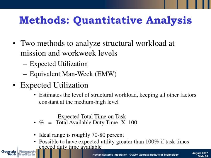 Methods: Quantitative Analysis