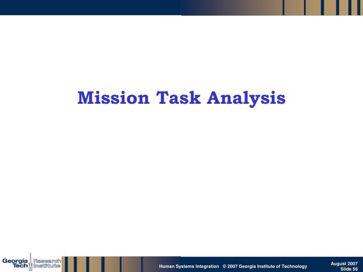 Mission Task Analysis