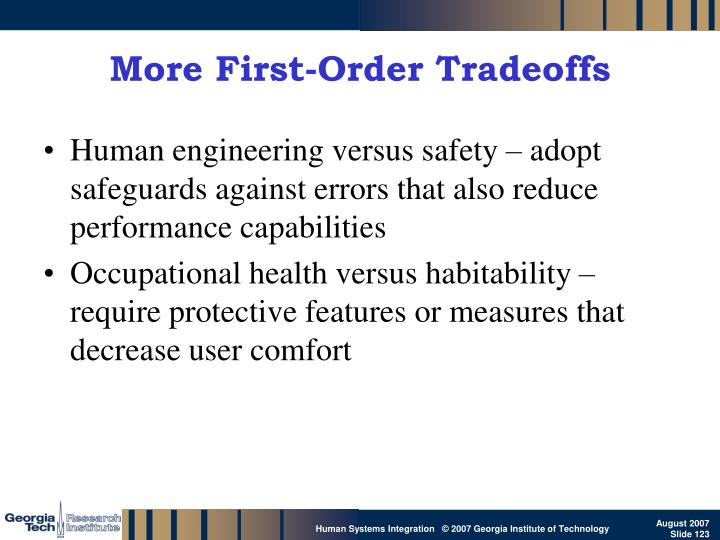 More First-Order Tradeoffs