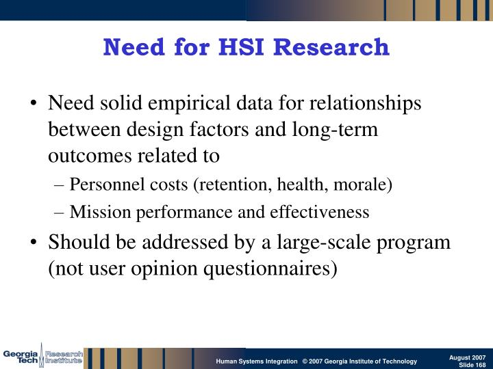 Need for HSI Research
