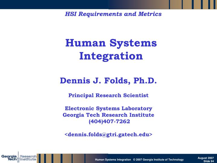HSI Requirements and Metrics