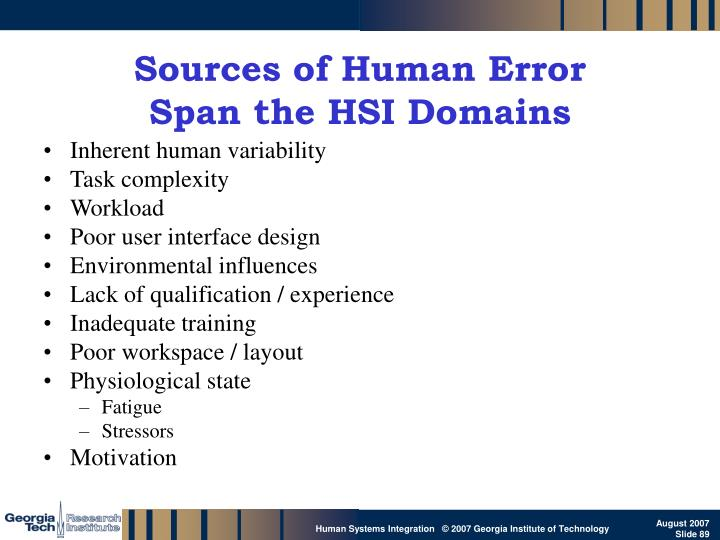 Sources of Human Error