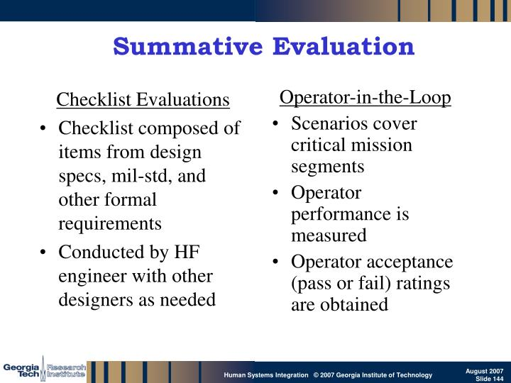 Checklist Evaluations