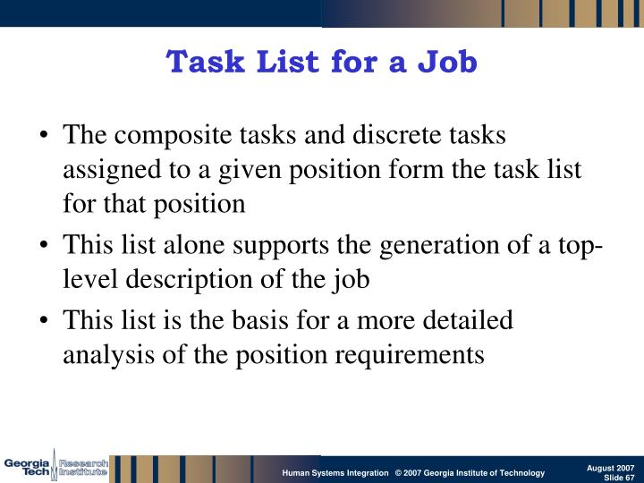 Task List for a Job