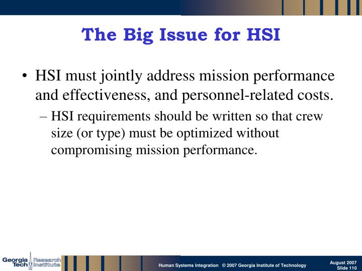 The Big Issue for HSI