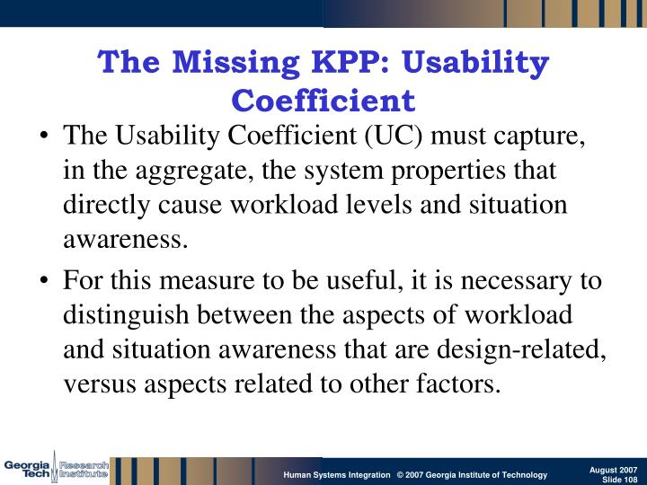 The Missing KPP: Usability Coefficient