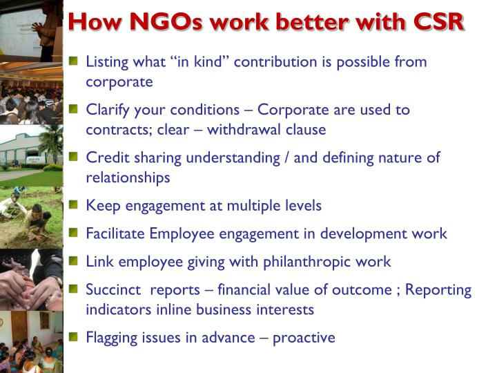 How NGOs work better with CSR