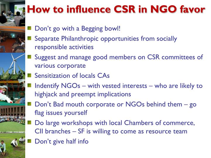 How to influence CSR in NGO favor