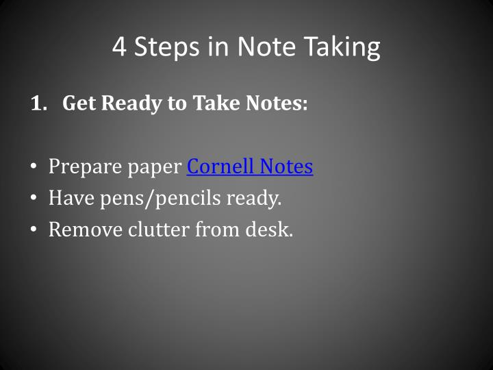 4 Steps in Note Taking