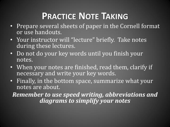 Practice Note Taking