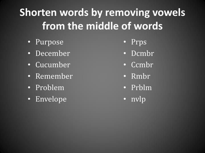 Shorten words by removing vowels from the middle of