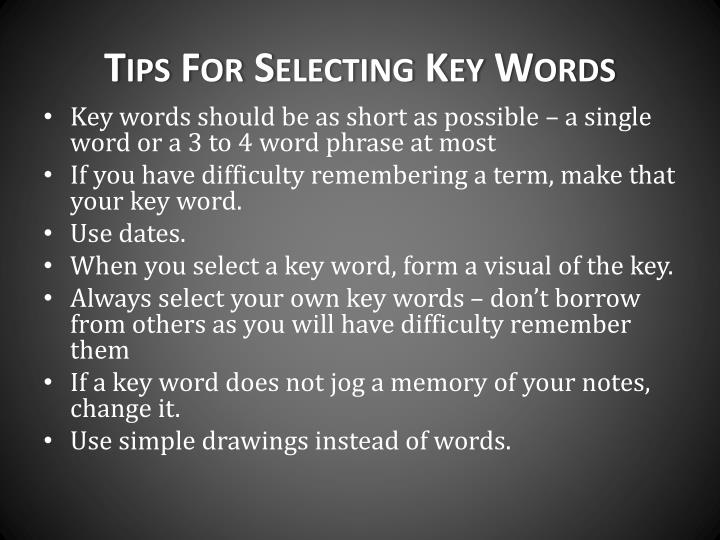 Tips For Selecting Key Words