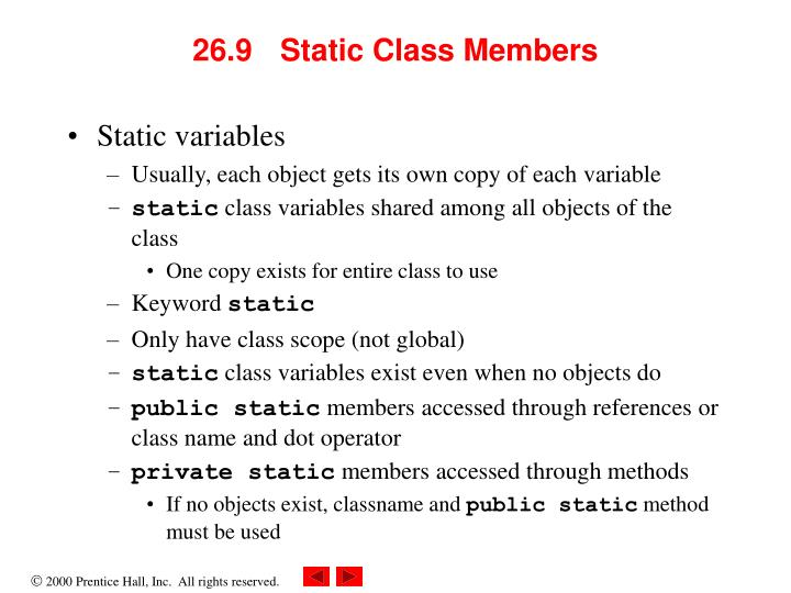 26.9 Static Class Members