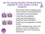 has the learning disability partnership board expanded its remit outside learning disability