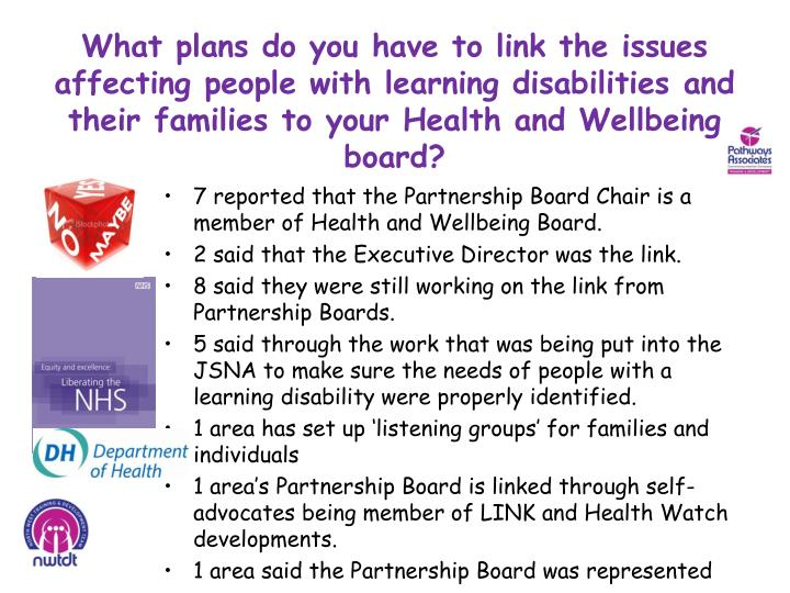 What plans do you have to link the issues affecting people with learning disabilities and their families to your Health and Wellbeing board?