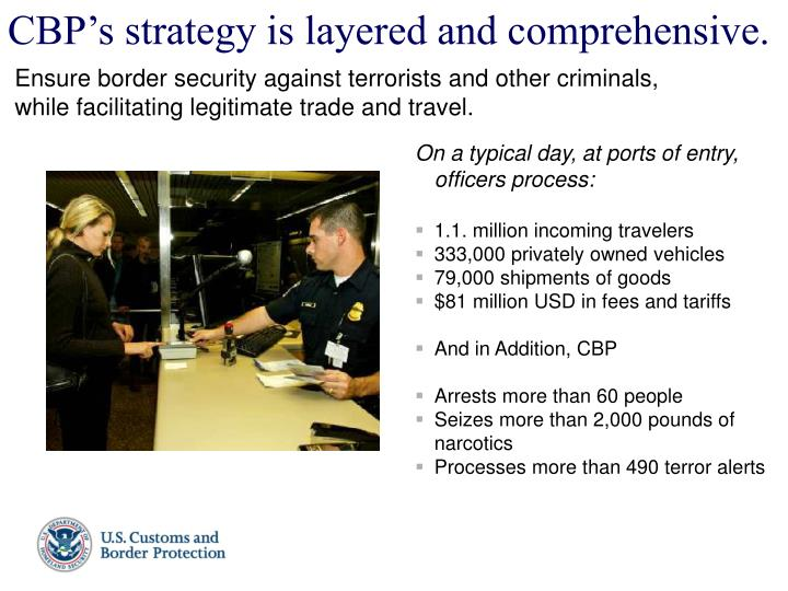 CBP's strategy is layered and comprehensive.