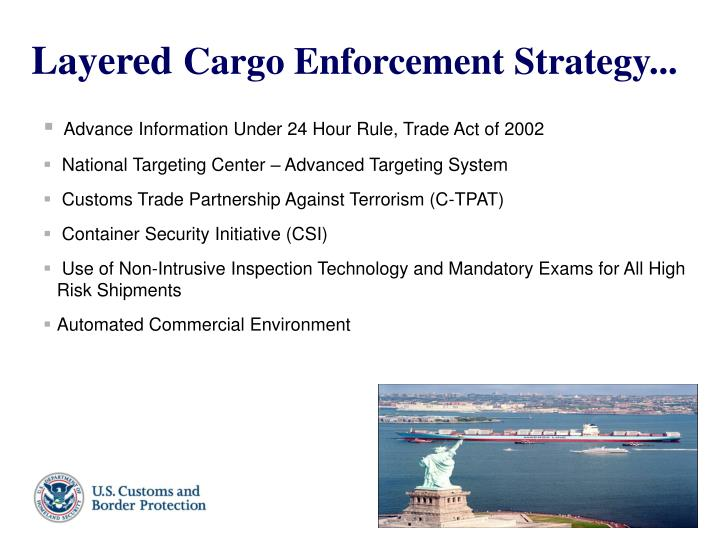 Layered cargo enforcement strategy