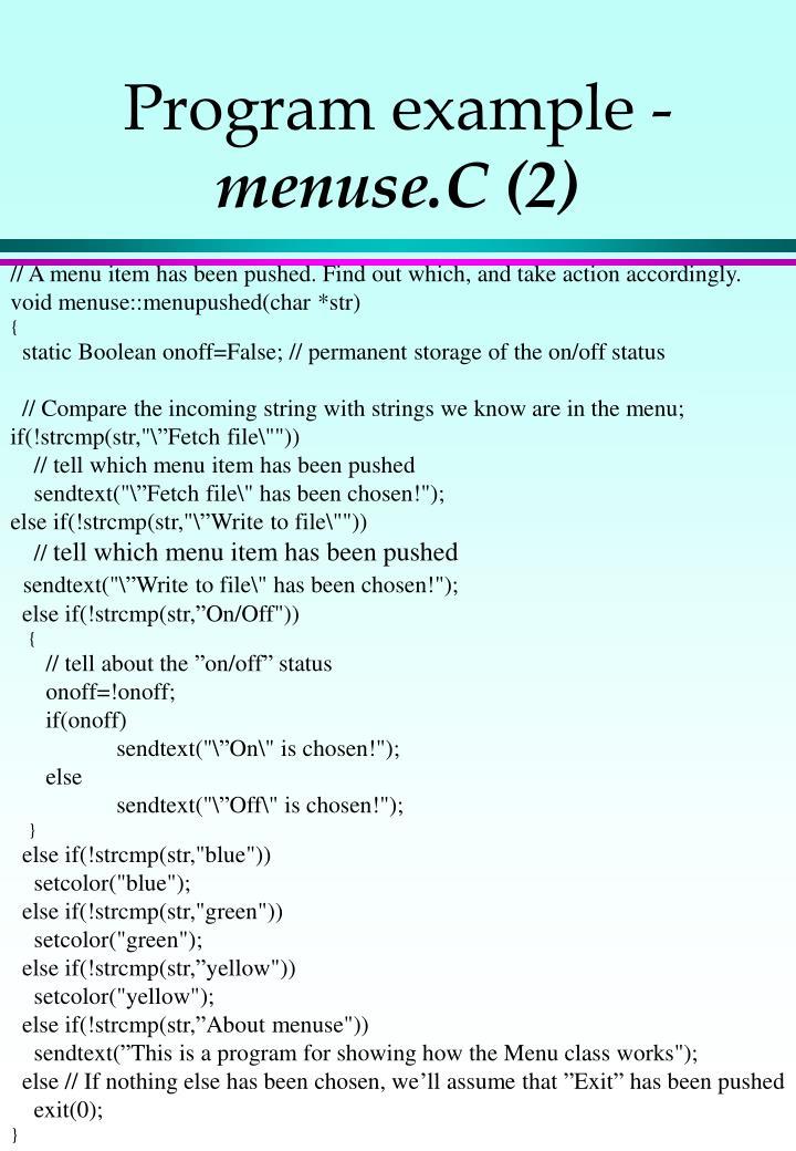 Program example -