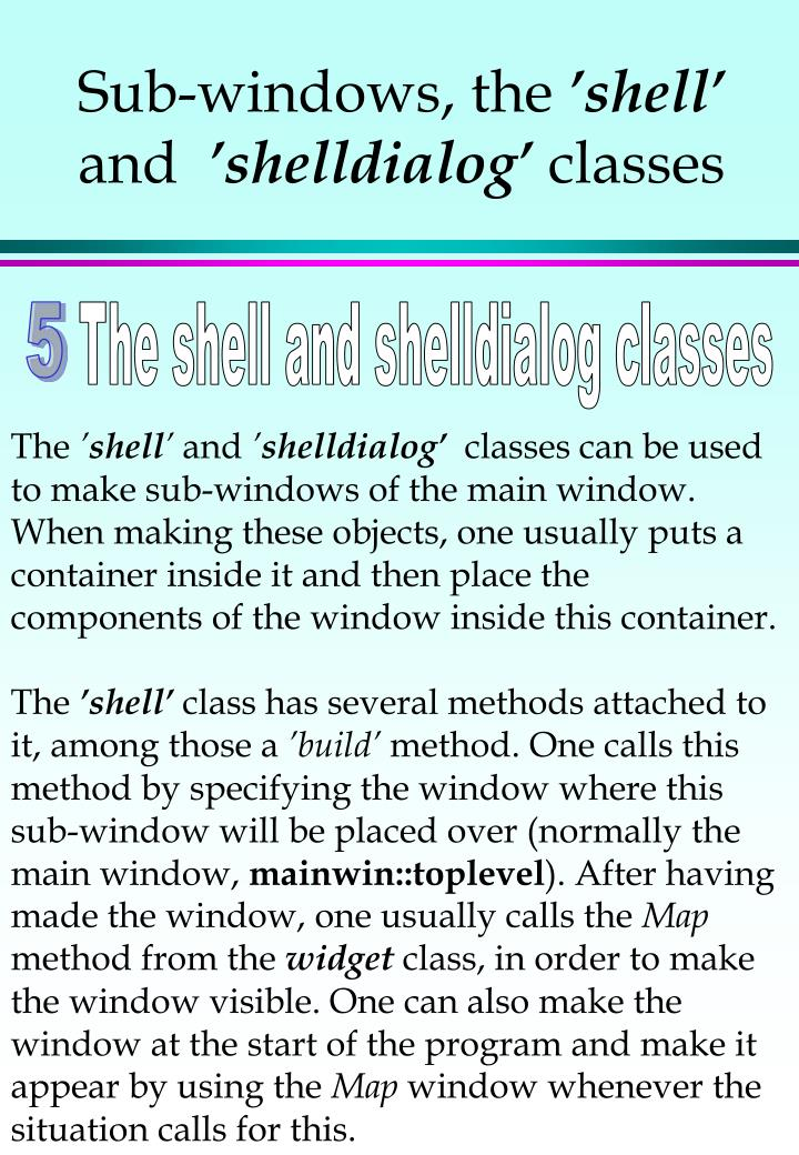 Sub-windows, the