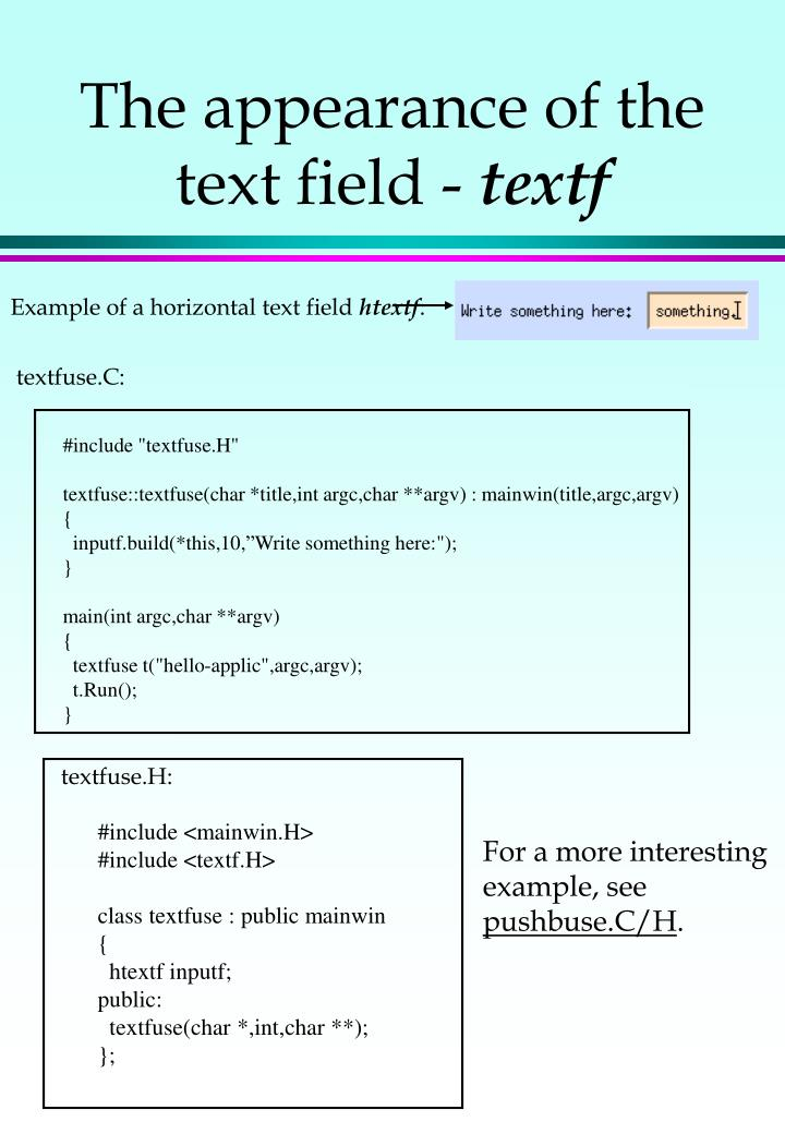 The appearance of the text field -