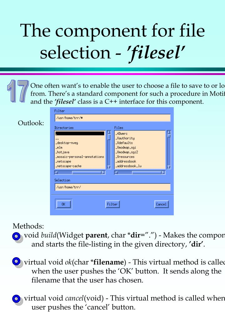 The component for file selection -